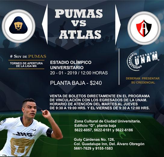Boletos Pumas UNAM vs Atlas