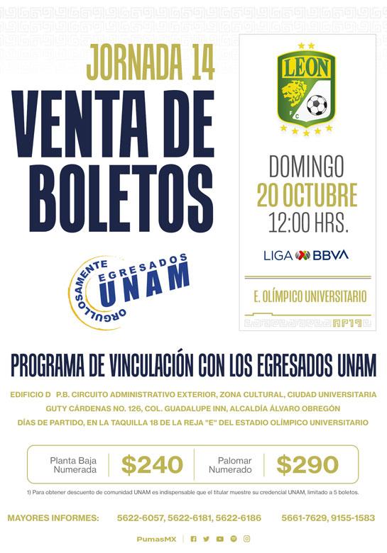 Boletos Pumas UNAM vs León