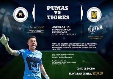 Boletos Pumas UNAM vs Tigres