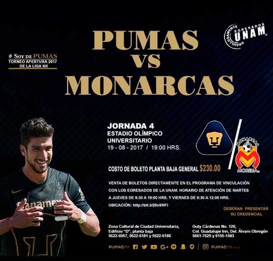 Boletos Pumas UNAM vs Monarcas